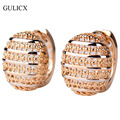 GULICX 2016 Fashion Designer Semi-Ball Round Hoop Earring for Women  Gold Platinum Plated Earing Hollow Wedding Jewelry E401
