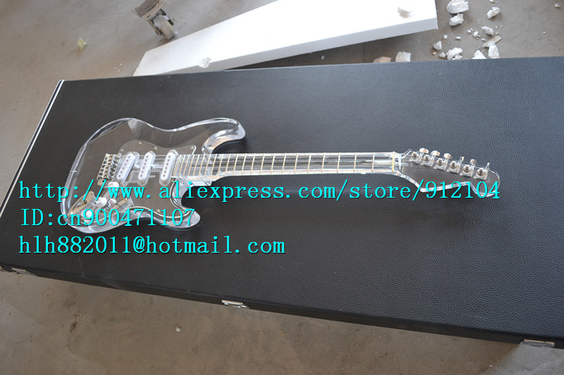 free shipping retail new organic glass electric guitar with organic glass body/neck chrome hardware clear F1354+suitcase