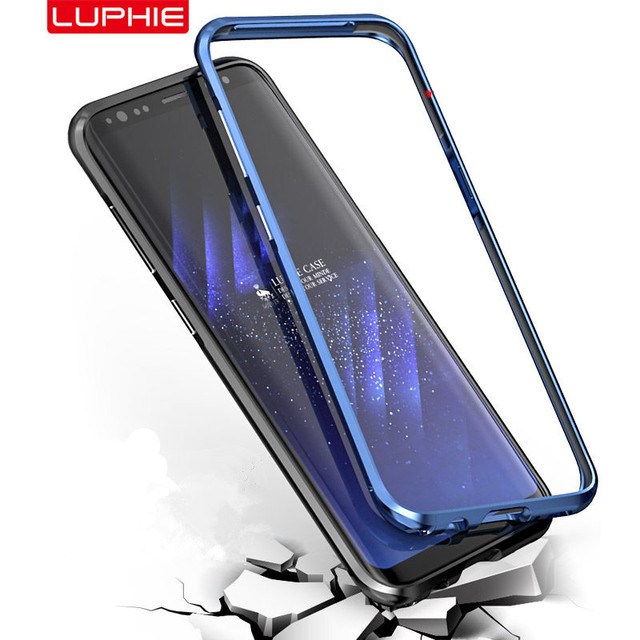 online store cc2f8 9b180 US $9.84 33% OFF|Luphie Curved Metal Bumper For Samsung Galaxy S8 S9 Plus  Shockproof Case Ultra Thin Aluminum Bumper Frame For Samsung S9 Cover-in ...