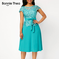 Bonnie Thea women Summer Lace Chiffon Blue Dress lady Sexy Office Elegant Dress Fashion Party long Dress