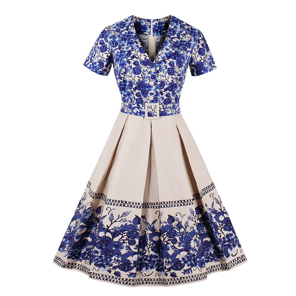 b7405bffea629 Women Big Swing Dress 2018 Casual Retro Robe Vintage 50s 60s Floral ...