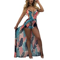 Europe And The United States Sexy Panama Style Lace Printing Dress