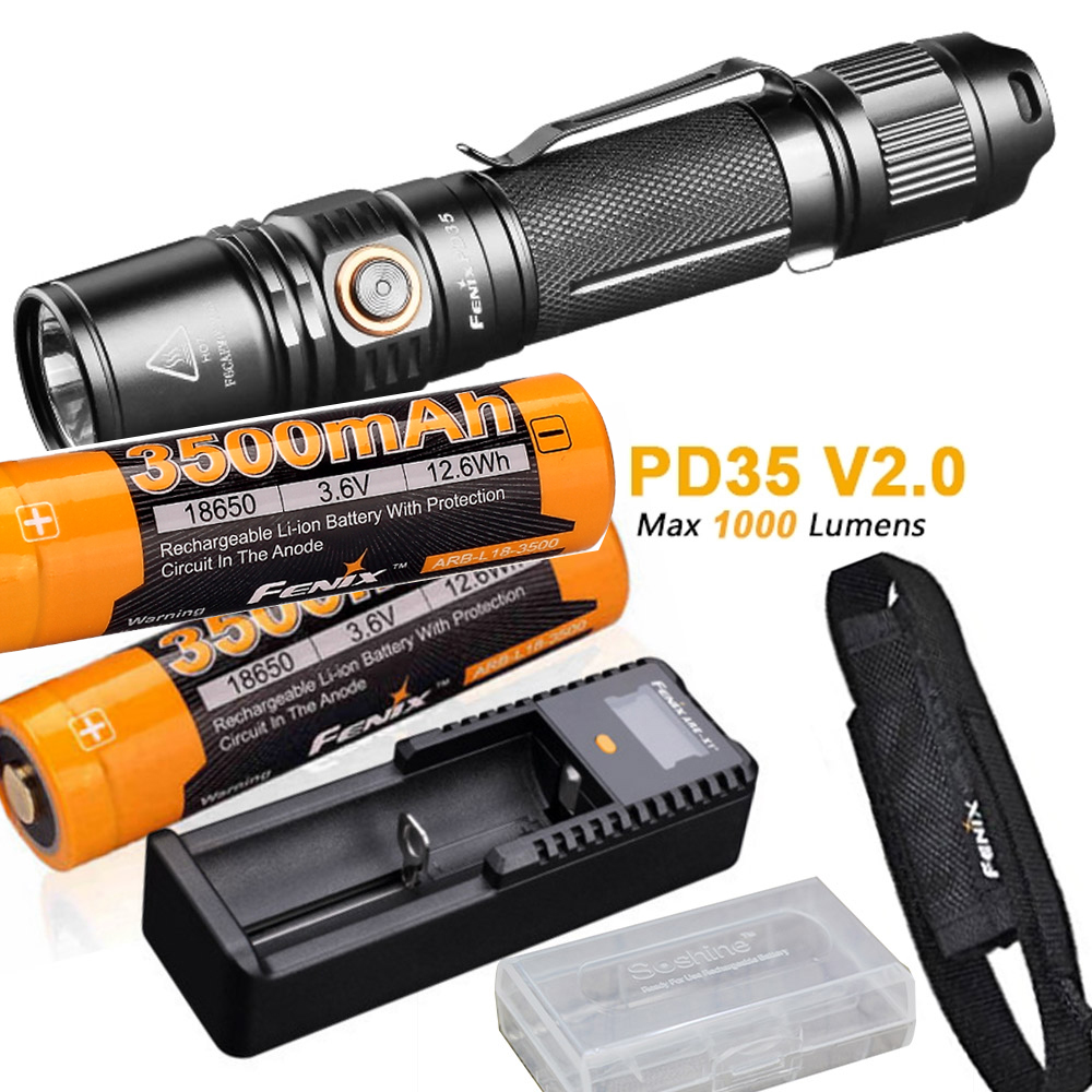 Fenix PD35 V2.0 2018 Upgrade 1000 Lumen Flashlight with 2 x ARB-L18-3500 18650 Battery,ARE-X1+ charger,holster,battery case