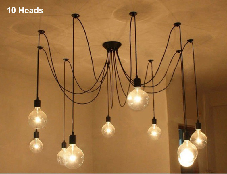 Mordern nordic retro edison bulb light chandelier vintage loft 4 3 mozeypictures Gallery