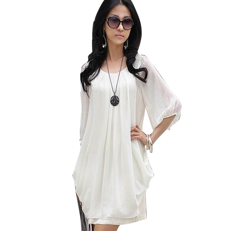 Korea Styles Round Neck Chiffon Women Dresses Casual Loose Above Knee Solid Dress 334