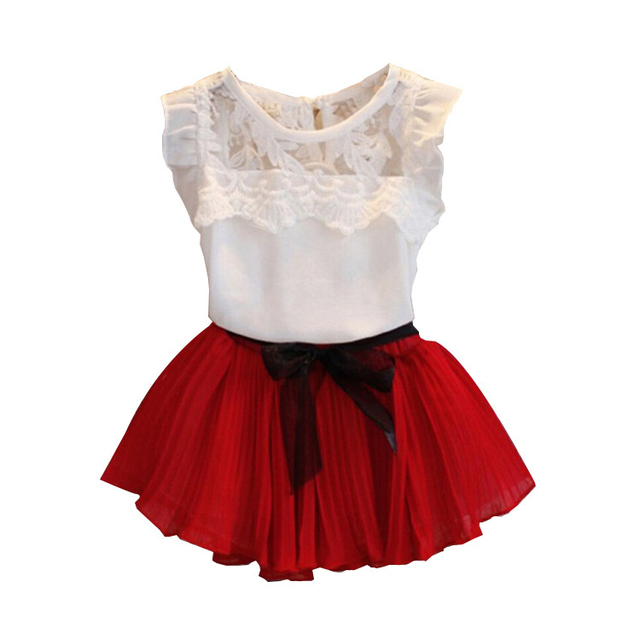 Lace red white and blue baby dress