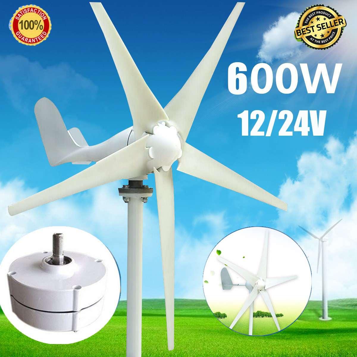 Wind T urbine Generator Max 600W DC 12V/24V 5 Blade Household Wind Generator 12V/24V 600W Permanent Magnet Generator Tu rbine System     - title=