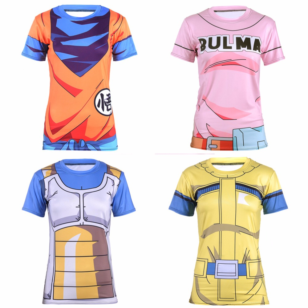 So Cool Cosplay Short Sleeves T-shirt Game Dragon Ball Women Tee Top for Both Body Fitness & Casual Wearing