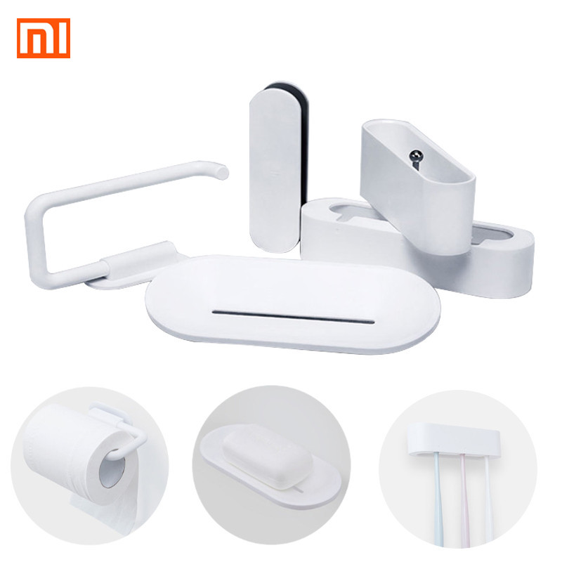 Xiaomi 5Pcs Bathroom Soap Storage Box Toothbrush And Toilet Paper Cellular Phone Holder Set Wall Mount Stand Bathroom Products