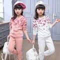 Rosa Crianças Set Primavera/Outono Estudantes 5-14Years Velho Crianças O-pescoço Mangas Compridas Hoodies Ternos Do Esporte Conjuntos de Roupas Florais Meninas