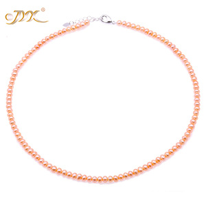 Image 2 - JYX Pearl Necklace Choker White Pink Lavender Natural Pearl Necklace Freshwater Pearl Necklace  Adjustable Length 18 (4.5 5.5mm)