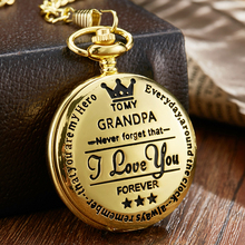 5 Design To My Grandpa Pocket Watch I LOVE YOU FOREVER Laser Engraved Chain Necklace Watches Men Grandfather Day Quartz Clock