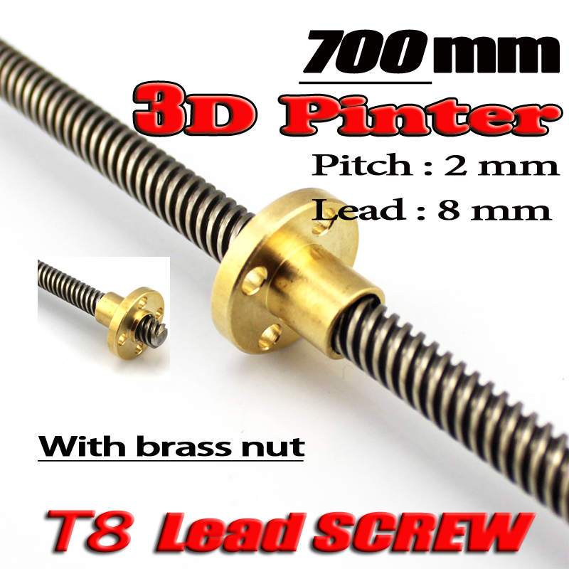 3D Printer THSL-700-8D Lead Screw Dia 8MM Pitch 2mm Lead 8mm Length 700mm with Copper Nut Free Shipping 3d printer thsl 600 8d lead screw length 600mm with copper nut dia 8mm pitch 2mm lead 4mm free shipping