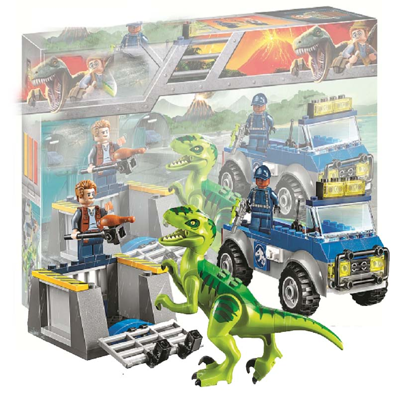 Sermoido 10757 102pcs Jurassic World Dinosaurs Figures Velociraptor Raptor Rescue Truck Building Block Toys For Children