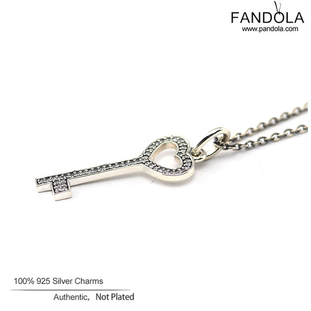 100% 925 Silver Jewelry Unlock My Heart Pave CZ Pendant Necklace Chain Length 90CM Key Necklace For Women DIY Fine Jewelry