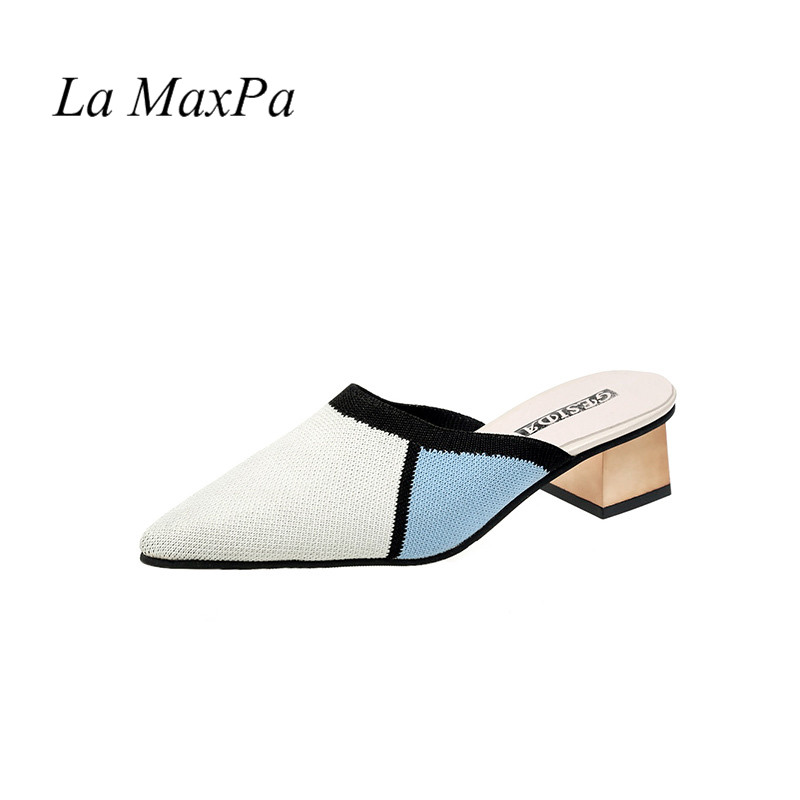 La MaxPa 2019 Cotton Stretch Farbic Summer Women Pointed Toe 3cm Thick Heels Shoes Half Slippers Female Mules Loafers Shoes 6