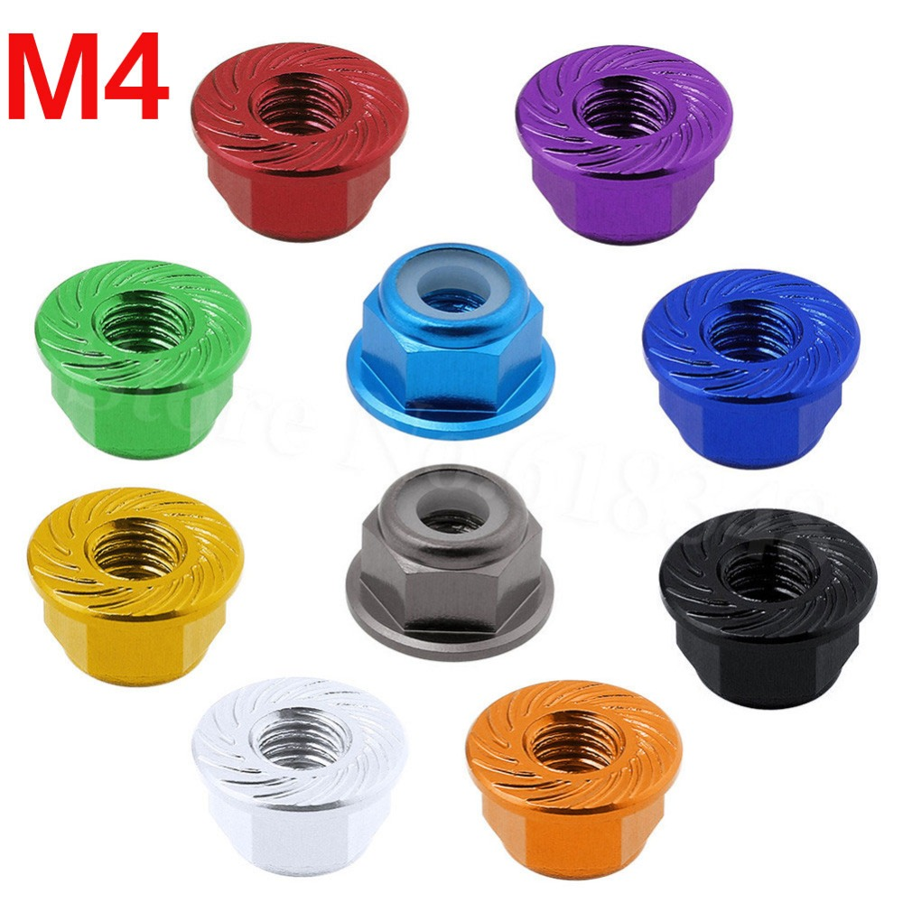 8PCS Aluminum Flange M4 Lock Nuts Nylon Self-Tightening Hex Wheel Adapter RC Car Parts Hardware