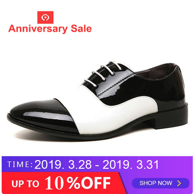 b9feedcf3c2c Cheapest mens dress shoes Pointed toe mens patent leather Oxfords wedding  business white shoes lace up mens fashion flats AB-44
