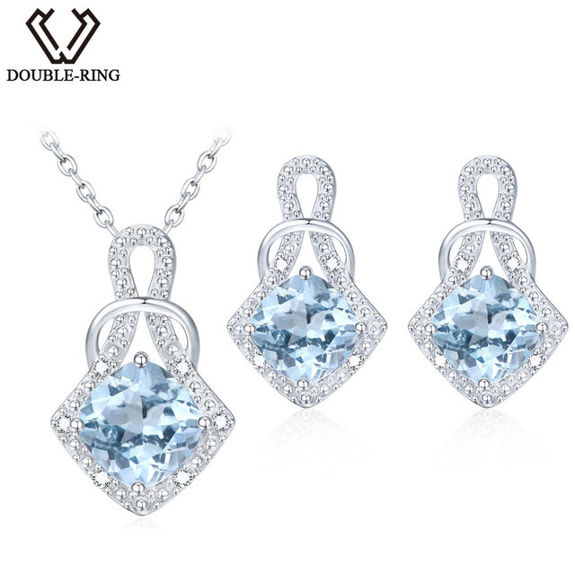 Double R Natrual Blue Topaz Earrings Pendant Necklace Jewelry Sets 925 Sterling Silver Gemstone Brand