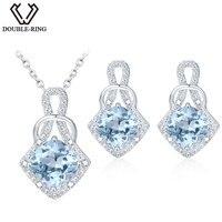 DOUBLE-R Natrual Pendientes Topacio Azul Colgante de Collar de Sistemas de la Joyería de Plata de Ley 925 Piedra Preciosa Marca de Joyería fina para las mujeres