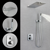 SKOWLL Wall Mounted Square Faucet Rainfall Shower Head Brass Chrome Finish Bathroom Shower Tap SK 7631