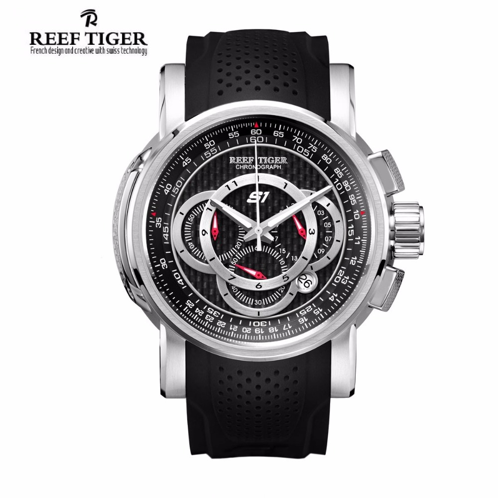 Reef TigerLuxury Brand Mens Watches Sport Chronograph Watch Date Rubber Strap Quartz Waterproof Watch Men Relogio Masculino reef tiger brand men s luxury swiss sport watches silicone quartz super grand chronograph super bright watch relogio masculino