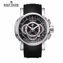 Reef TigerLuxury Brand Mens Watches Sport Chronograph Watch Date Rubber Strap Quartz Waterproof Watch Men Relogio Masculino