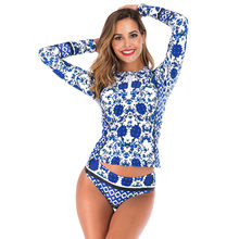 CHAMSGEND New Women's Long-sleeved Sunscreen Swimwear Wetsuit surf swimming sexy fashion casual Slim one-piece swimsuit(China)