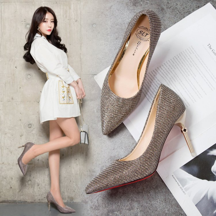 цена Korean Style Sexy Super High Thin Pumps Women Bling Pointed Toe Wedding Party Ladies Shoes Shallow Basic Slip-On Shoes