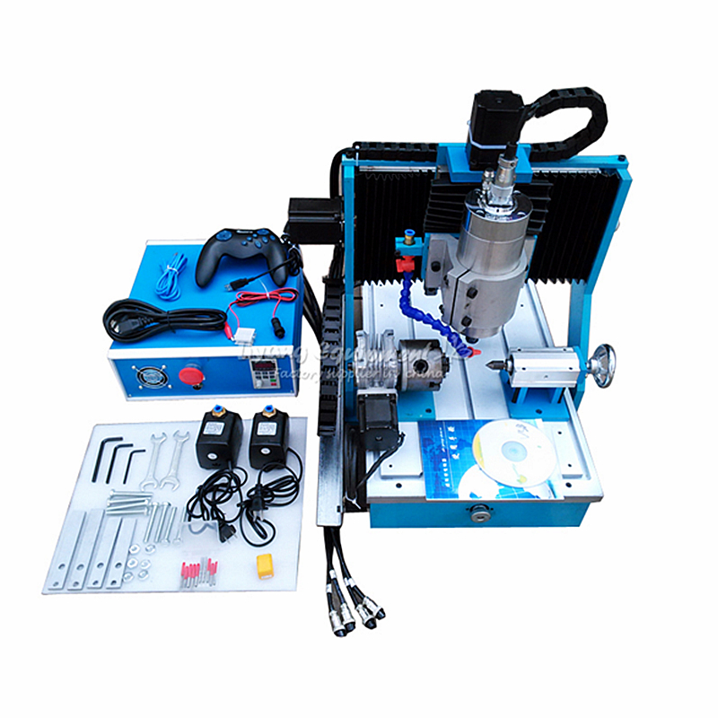 1500W CNC Router Engraving Machine 3040 4 Axis mini Aluminum Milling Woodworking with USB Port Square line rail track