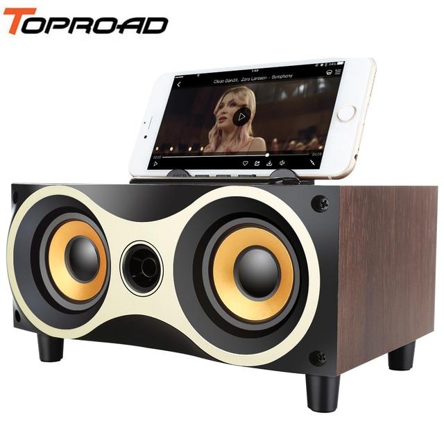 US $24 61 55% OFF TOPROAD Wooden Wireless Bluetooth Speaker Subwoofer Stero  Desktop Speakers Support FM Radio AUX U disk MP3 caixa de som with MIC-in