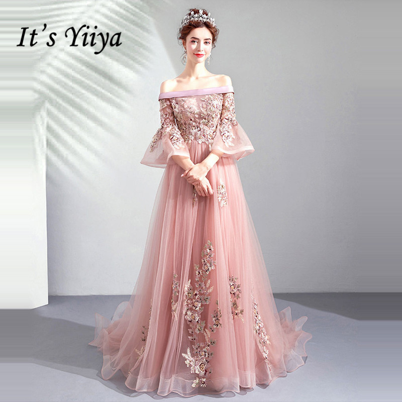 It's YiiYa   Evening     Dress   Illusion Embroidery Beading Wedding Formal   Dresses   Flare Sleeve Lace Flowers Long Party Gown E161