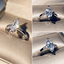 Fashion Thin Ring Simple Cubic Zircon Silver Color Stackable Horse Eyes Wedding Rings For Women Minimalist Jewelry D30