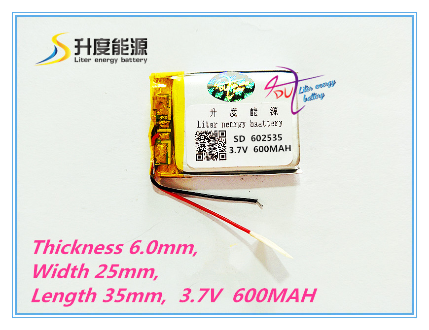 Free shipping Polymer lithium battery 3.7 V, 602535 can be customized wholesale CE FCC ROHS MSDS 600MAH quality certification free shipping polymer lithium battery 651230 3 7v 200mah can be customized wholesale ce fcc rohs msds quality certification