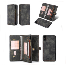 Luxury Leather Multifunctional Business Wallet Zipper Case Detachable Magnetic Back Cover For LG stylo4