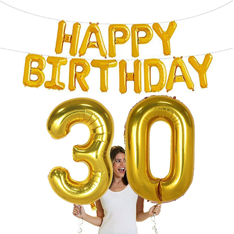 Happy <font><b>birthday</b></font> banner 40inch number 16 18 20 21 30 40 50 balloons 16th 18th 20th 21st 30th 40th 50th 60th <font><b>70th</b></font> adult decoration image