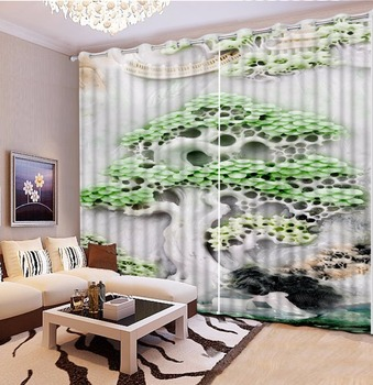3D Stereoscopic Printing Curtain Luxury jade pine Curtains For Bedroom Classic 3D Curtains Window Bedroom Kitchen Curtains Decor