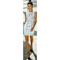 DEIVE TEGER 2019 New Summer Women White Bandage Dress Vestidos Sexy Sleeveless Bodycon Clubwear Celebrity Party Dress HL4845