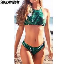 SUNRAINBOW 2017 Green Leaf Print Bikinis Women High Neck Bikini Swimsuit  Swimwear Sexy Brazilian Bikini Set Padded Beach Wear