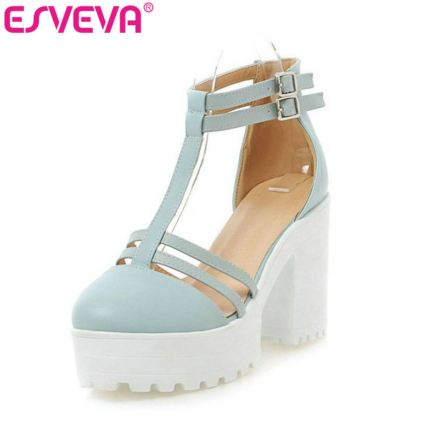 ESVEVA Sweet Size 34-43 PU Leather Lady Platform Wedding Shoe Sexy Summer Ankle Strap Women Sandals Thick High Heel Women Shoes kemekiss size 32 43 sexy lady platform high heel shoes women ankle strap thick heel pumps party club office shoes women footwear