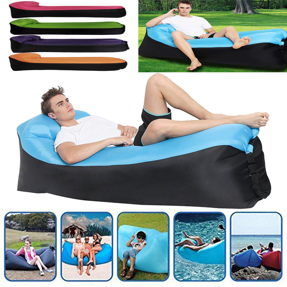 High Quality Portable Quick inflatable sofa interesting Lounger Chair Leisure sleeping bags Durable Home Camping bed 250*70 CM ...