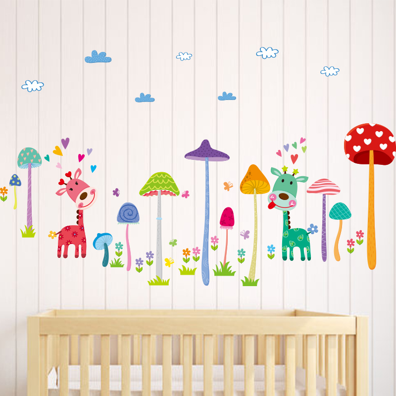Buy wall sticker cartoon mushrooms for Diy mural painting