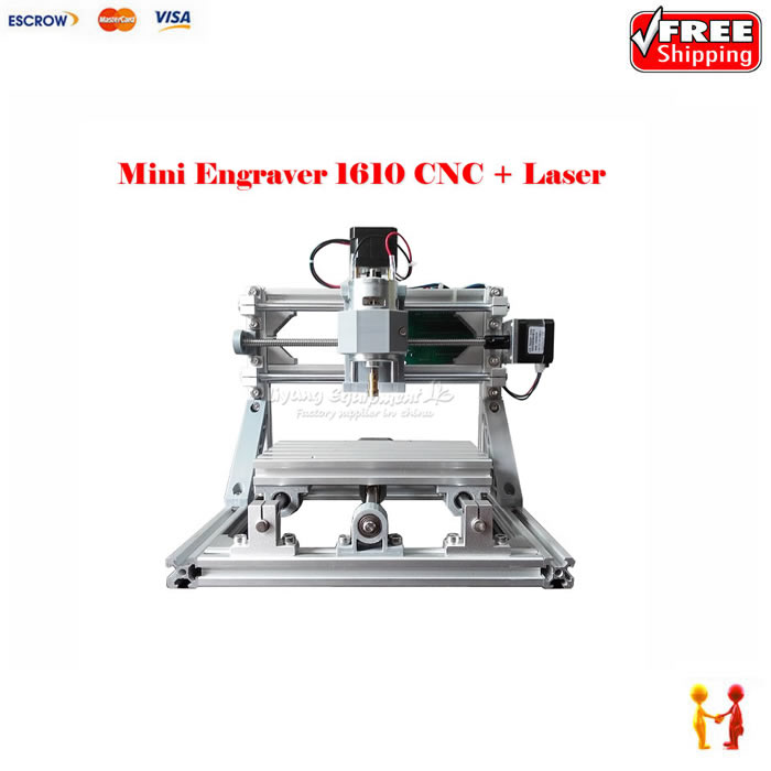 mini CNC milling machine 1610 + 500mw laser CNC engraving machine work for pcb wood pvc etc with GRBL control  цены