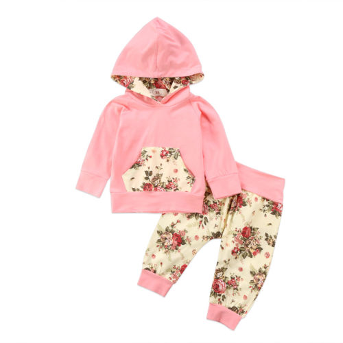 0-24M Newborn Baby Kids Girls Clothes Floral Hooded Tops+Leggings Pants Outfits Set Toddler Floral Winter Clothing 2pcs