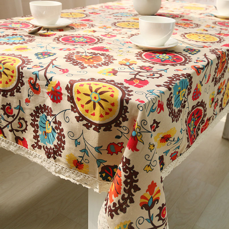Bohemian National Wind Decorative Table Cloth Cotton Linen Lace Tablecloth Dining Table Cover Kitchen Home Decor image
