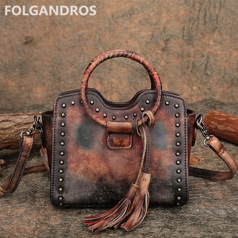 цены New Rivet Genuine Leather Mini Handbag Women Top Quality Cowhide Handmade Shoulder Messenger Bag Vintage Tassel Top Handle Bags