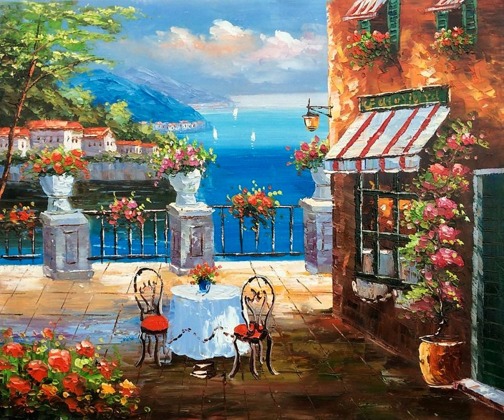 Modern Mediterranean Landscape Oil Painting Decorative Wall Art Painting on Canvas Cafe Italy 100% Hand Painted Artwork