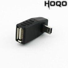1 Mini USB, 5 pines B macho A USB 2,0 tipo A hembra, adaptador de Host OTG izquierdo/Derecho/arriba/ángulo inclinado negro