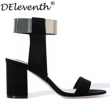 Hot Fashion Brand Name Summer ZA Ankle Strap Glitter Metal Bling Square High Heel Sandals Women