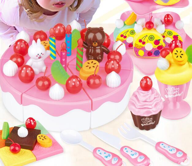 Bricolage semblant jouer fruits coupe anniversaire gâteau crème thé ensemble cuisine nourriture jouets rose filles enfants batterie de cuisine ensembles YH1145